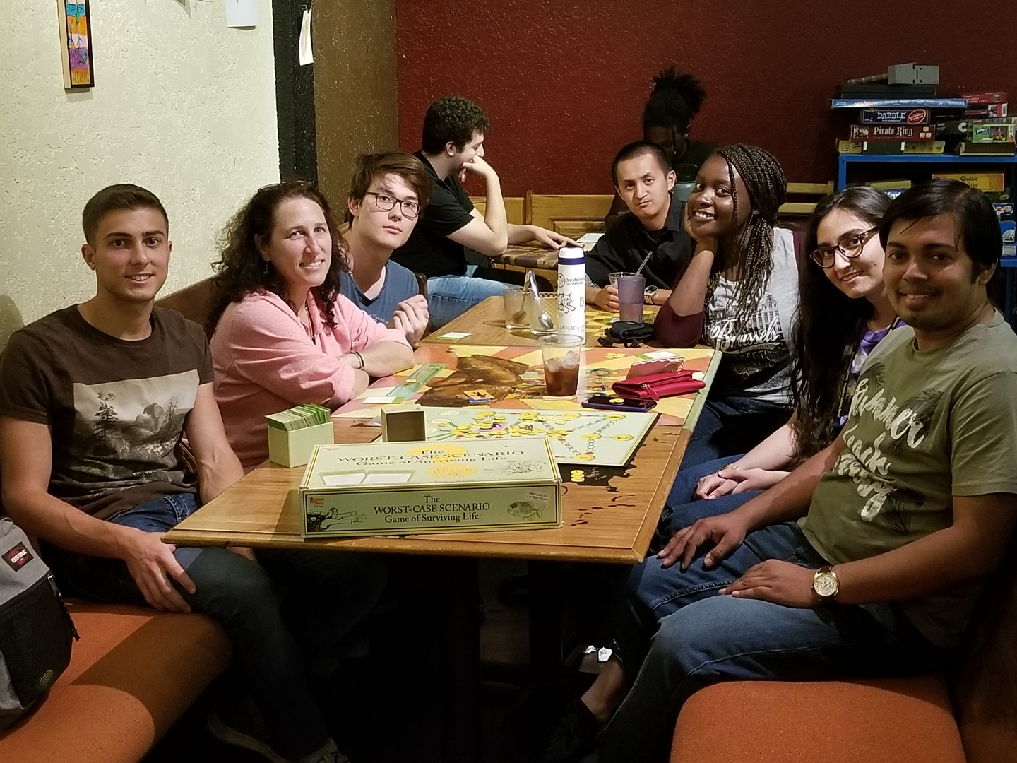 Group playing game at Coffee Bandits Sept. 4, 2018